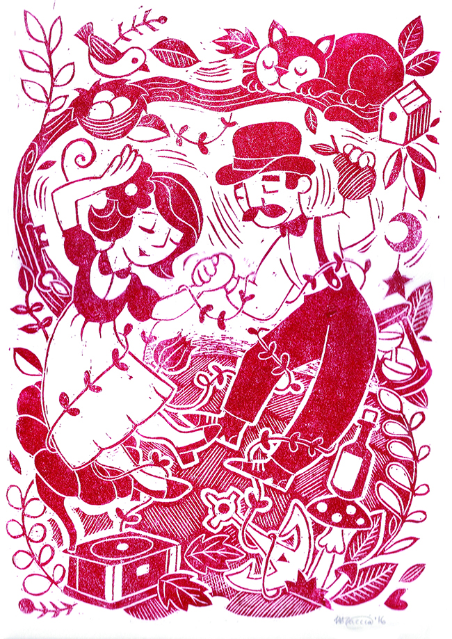 linocut poster